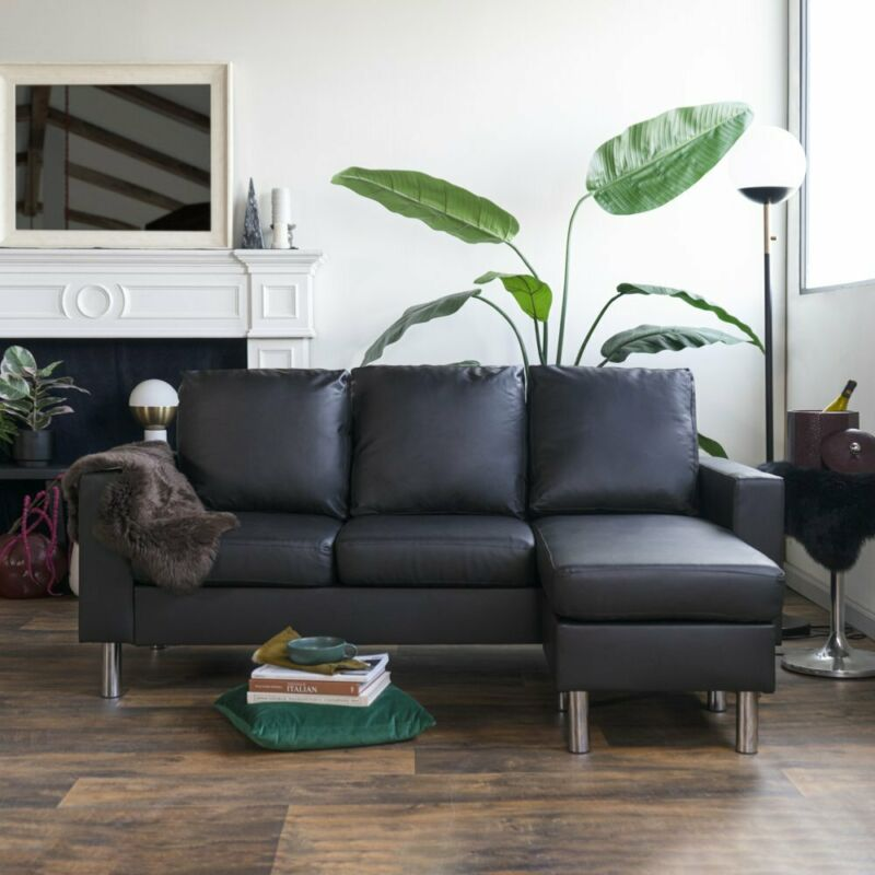Modern Black Sectional Couch Reversible L Shape Couch Small with Silver Legs