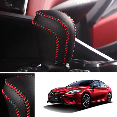 Leather Gear Shift Lever Knob Cover Shell Trim Red Stitch for Toyota Camry 2018
