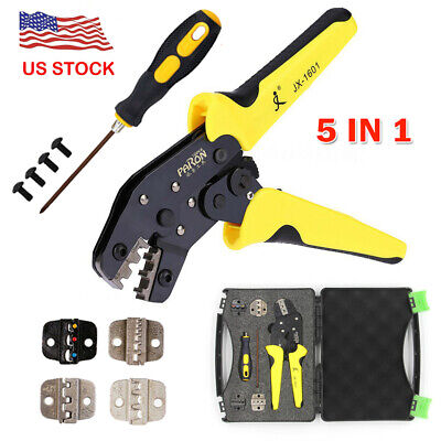 5 In 1 Wire Crimper Tool Kit Crimping Pliers Cord End Terminals Set With Box