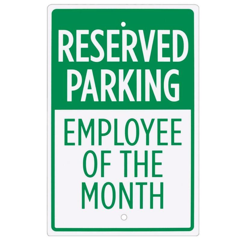 """Employee of the Month Parking 18x12"""" Weather UV Rust-Resistant Coated Metal Sign"""