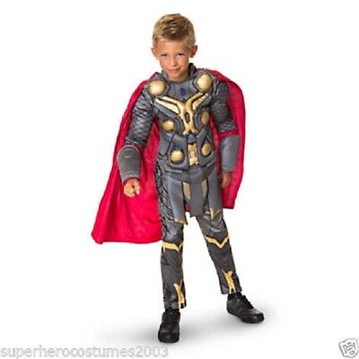 The Avengers Thor Muscle Deluxe Costume Disney Marvel Comics Brand New Size 7-8