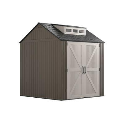 Rubbermaid 7 ft. x 7 ft. Storage Shed Browns / Tans Black Pl