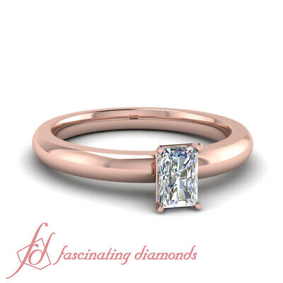 Rose Gold Radiant Cut Diamond Promise Rings For Women 1/2 Carat GIA Certified