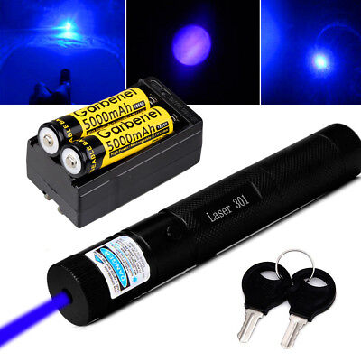 Military Powerful 20miles 1mw Blue Laser Pointer Pen Beam Lightbatterycharger