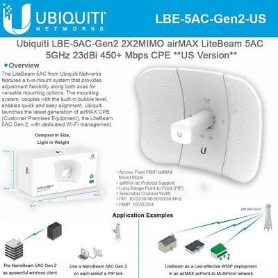 Ubiquiti LBE-5AC-Gen2-US - 5 GHz LiteBeam AC, Gen2