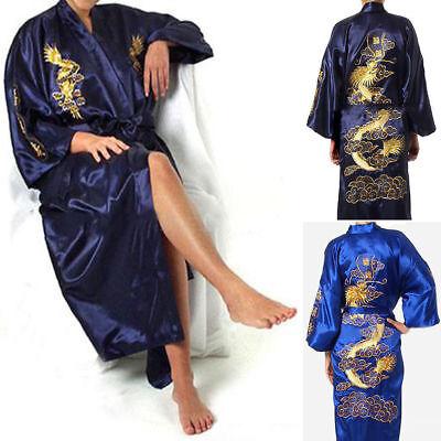 Chinese Satin Men Kimono Robe Gown Comfy Bathrobe Dress Pajamas Sleepwear 591