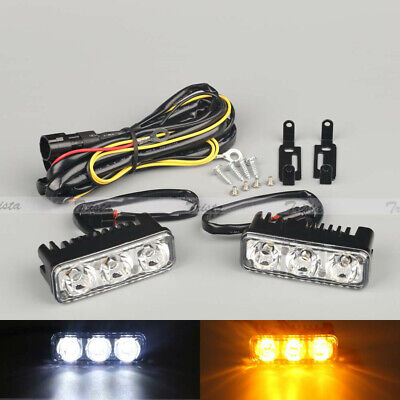 White&Amber 6 LED Daytime Running Light Turn Signals Wiring Harness Car Truck #Y