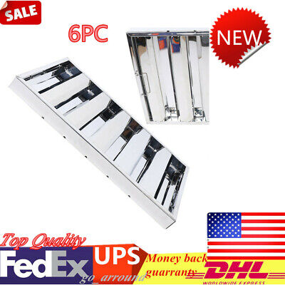 6x Commercial Kitchen Exhaust Hood Vent Grease Filter Baffle Stainless Steel New
