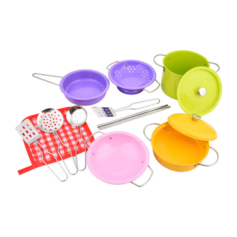 14pcs Stainless Steel Pots and Pans Cookware Playset for kid