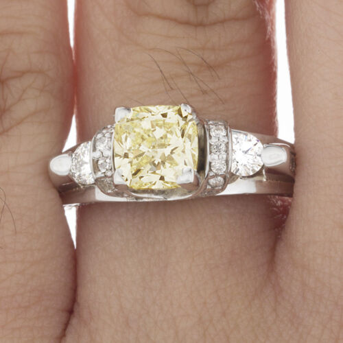 Estate Antique Style GIA 2.50 CT Fancy Yellow Cushion Diamond Engagement in P...