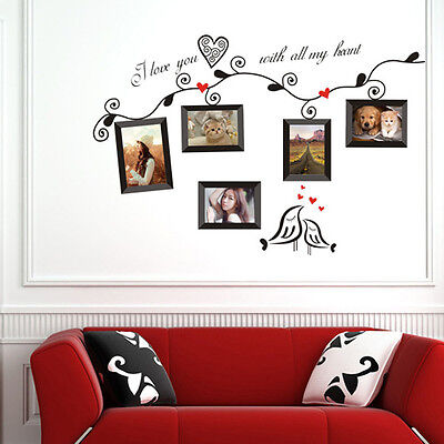 Removable 5 Family Photo Frames Birds Wall Stickers Art Quotes Home DIY Decor US