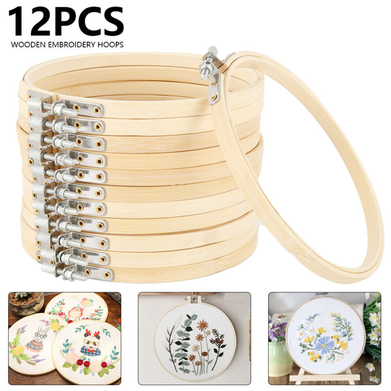 12PCS Embroidery Hoops Set Bamboo Wood Round 6 Inch Cross St