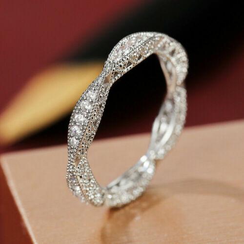 2.1Ct Diamond Engagement Wedding Full Eternity Milgrain Ring Band 14K White Gold