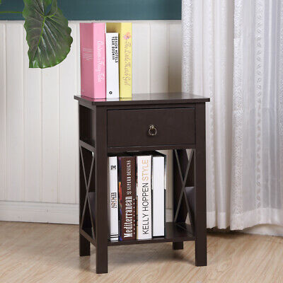Wood Sofa End Side Bedside Table Nightstand W/Drawer Storage