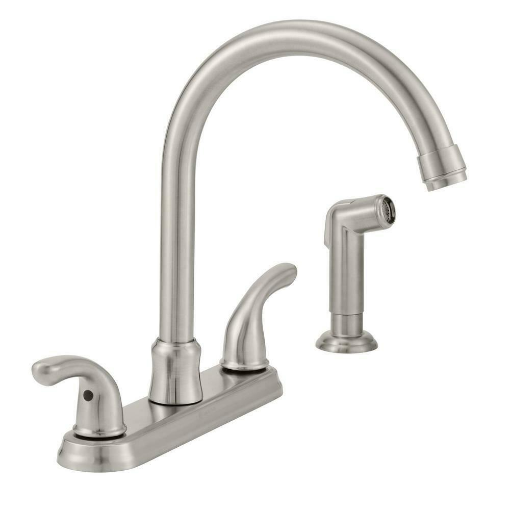 Builders 2-Handle Standard Kitchen Faucet with Sprayer in St