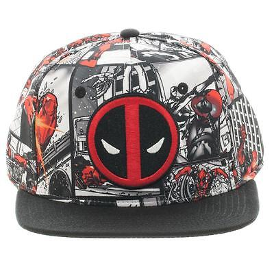 MARVEL COMICS DEADPOOL LOGO SUBLIMATED ALL OVER PRINT SNAPBACK HAT CAP WHITE BLK