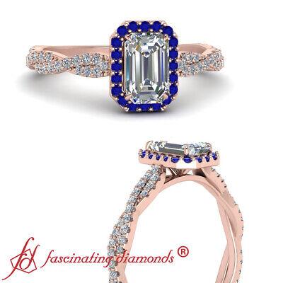 3/4 Carat Emerald Cut Diamond And Sapphire Gemstone Twisted Halo Engagement Ring