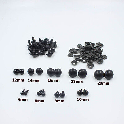 Black Plastic Safety Eyes For Teddy Bear/Dolls/Toy Animal/Felting,6-24mm