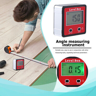 Digital Lcd Protractor Gauge Angle Finder Bevel Level Box Inclinometer Meter Usa