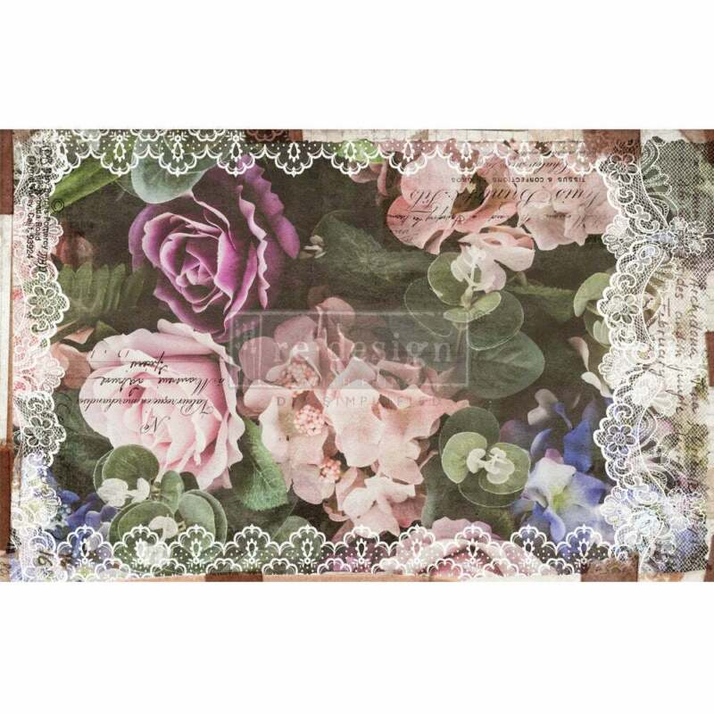 Dark Lace Floral Decoupage Paper by redesign with Prima!