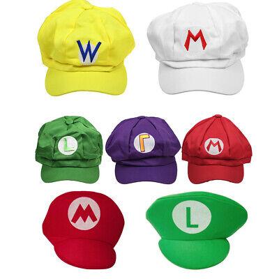 Super Mario Costume Child (Super Mario Bros Hat Luigi Cap Anime Cosplay Costume baseball Adult kids Gift)