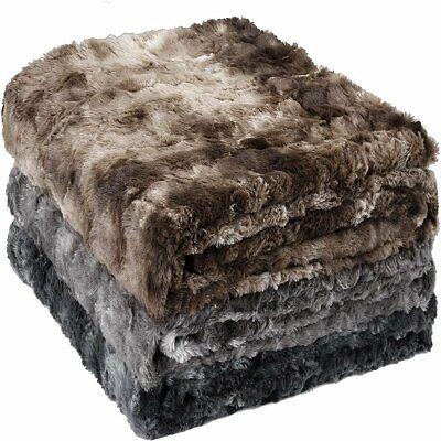 SOFTAN Faux Fur Throw Blanket Warm Plush Fleece Fluffy Sherpa for Bed Couch Sofa