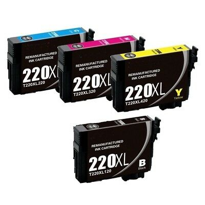 4Pk Ink Cartridges for Epson 220 XL T220 Expression XP-320 XP-420 XP-424 T220XL