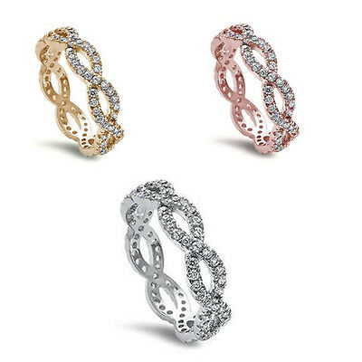 Criss Cross Infinity 925 Sterling Silver Rose & Gold Platted Eternity Ring Band Criss Cross Band