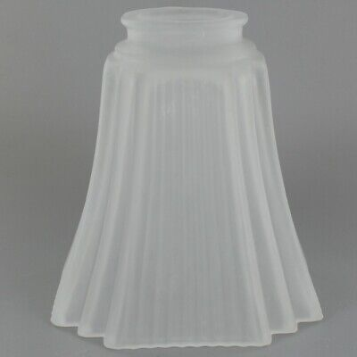 """FROSTED ART DECO ~ Glass Lamp Shade ~ 4 1/2"""" Dia. x 5"""" T ~ 2 1/4"""" Fitter ~#GG38"""