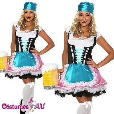 Ladies Beer Maid Wench Oktoberfest Costume German Heidi Gretchen Dirndl - Beer Wench Outfits