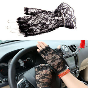New Black Lace Stretch Fingerless Gloves Madonna Style PROM / GOTH / Fancy Dress