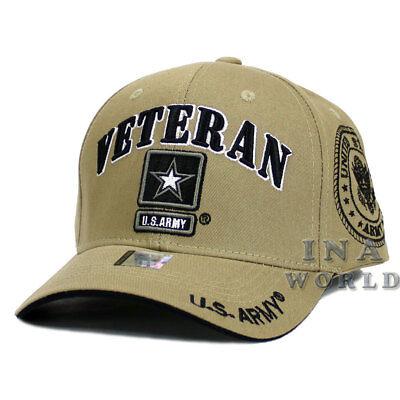 U.S. ARMY hat Military VETERAN ARMY STRONG Licensed Baseball cap- Khaki Beige