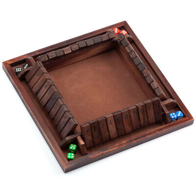 4-Players Shut The Box Board Game w/Dice. Bar Drinking Party Family Porch Games