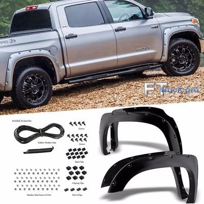 [PAINTABLE] 14-18 Toyota Tundra Smooth Pocket Riveted Wheel Cover Fender Flares