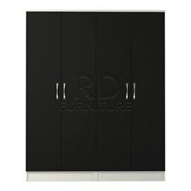 Hampton 4 door wardrobe white and black