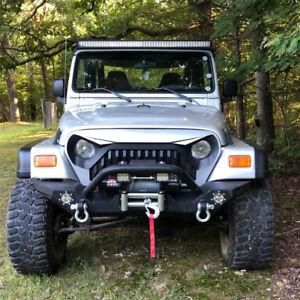 Rock Crawler Front Bumper LED Lightsu0026Winch Plate Fit 87 06 Jeep Wrangler TJ  YJ (Fits: 1987 Jeep Wrangler)