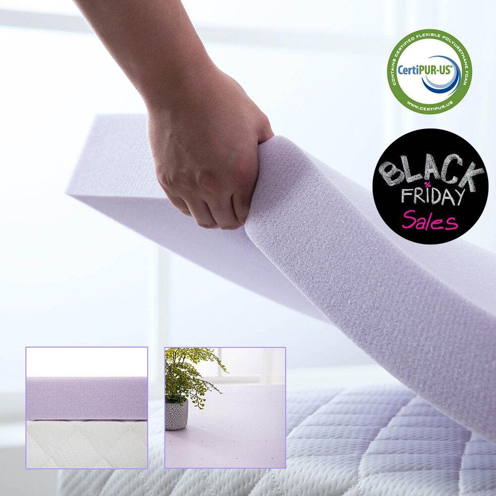 3 Inch Memory Foam Mattress Topper Lavender Dot Bed Full Que