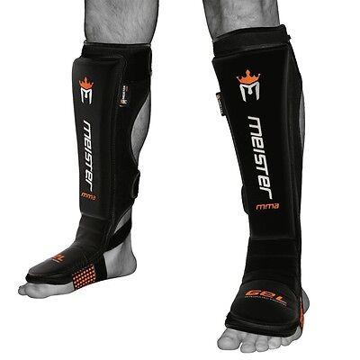 - MEISTER EDGE SHIN GUARDS w/ GEL PADDING - BLACK - MMA Shin Instep Pads Muay Thai
