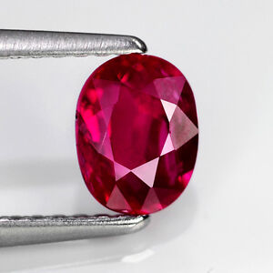 CERTIFIED UNHEATED Natural Gem 1.05ct 6.5x5mm Oval Red RUBY, MOZAMBIQUE #289292