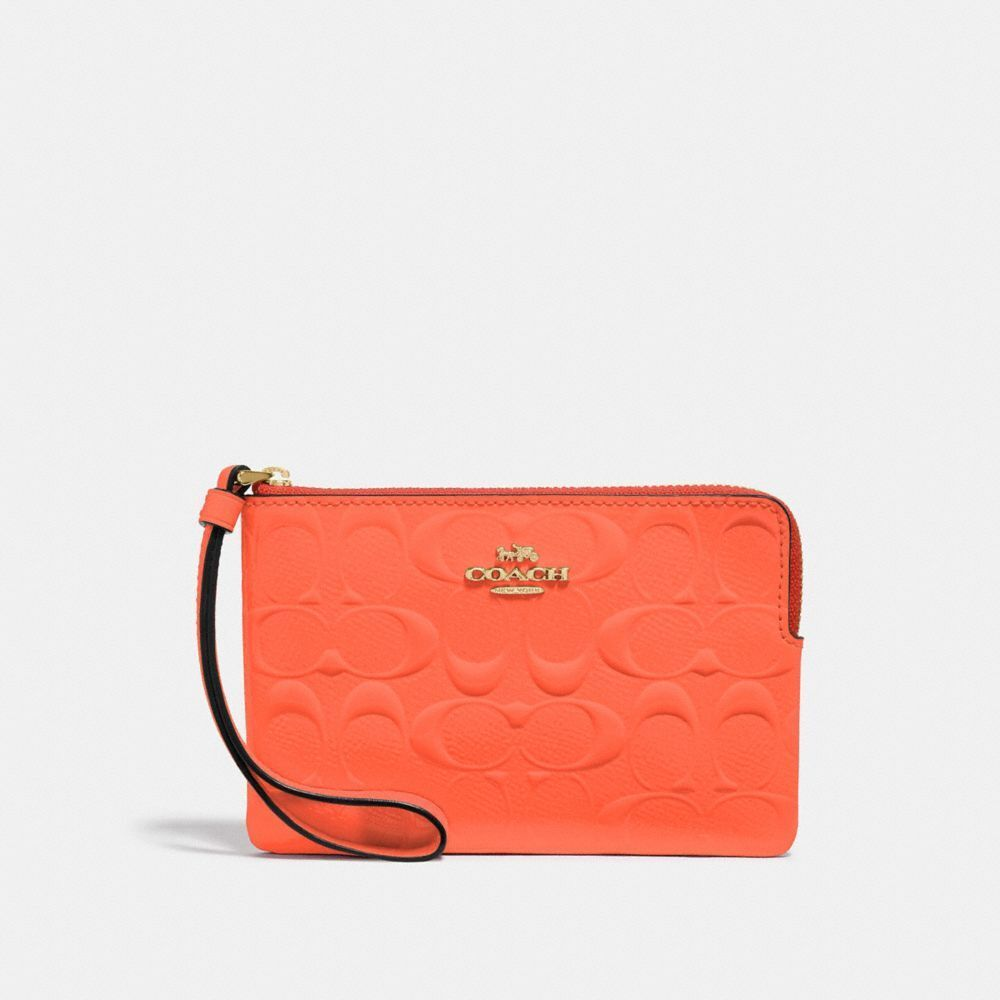 New Coach F58032 F58035 Corner Zip Wristlet With Gift Box New With Tags Neon Orange Patent Leather