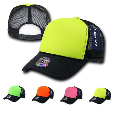 Decky Neon Curved Bill Mesh Trucker Baseball Hats Caps Yello