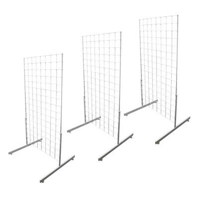 Set Of 3pc White Gridwall Panel T-leg Floor Standing Display Hanging 4 Feet Tall