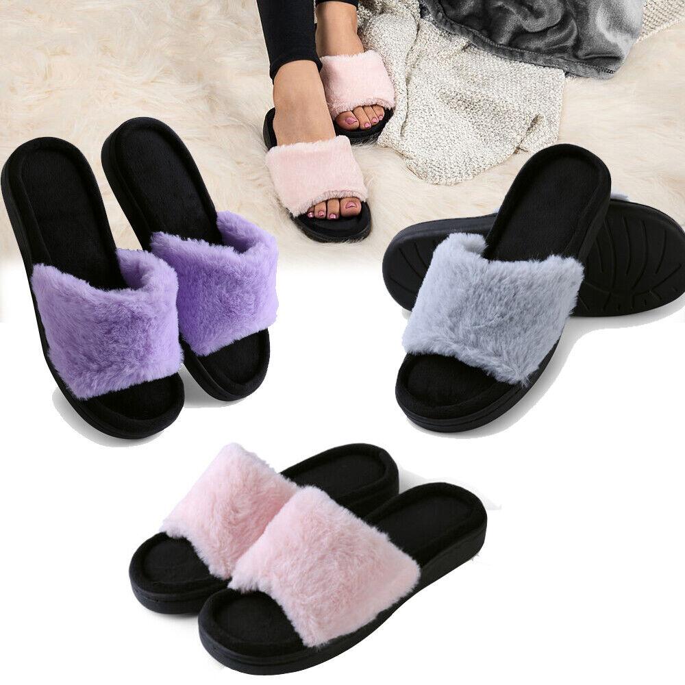 Women Fluffy Open Toe Slide Anti Slip Slippers Flat Sandal