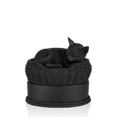 Perfect Memorials Black Cat in Basket Cremation Urn