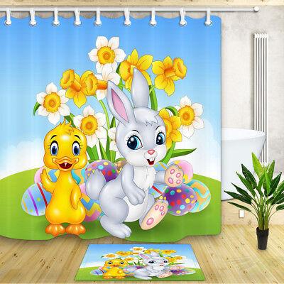 "- Duck baby and white rabbit Shower Curtain Bathroom Decor Fabric & 12hooks 71x71"""