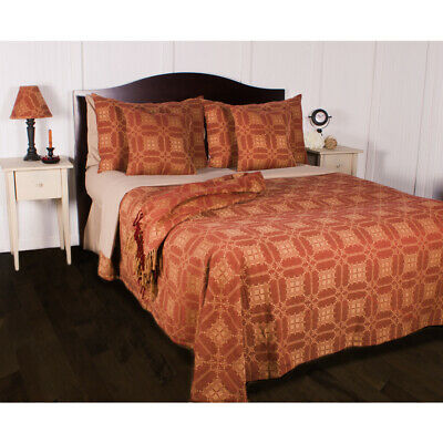 Smithfield Jacquard Primitive Country Farmhouse Bedcover Queen Barn Red Nutmeg
