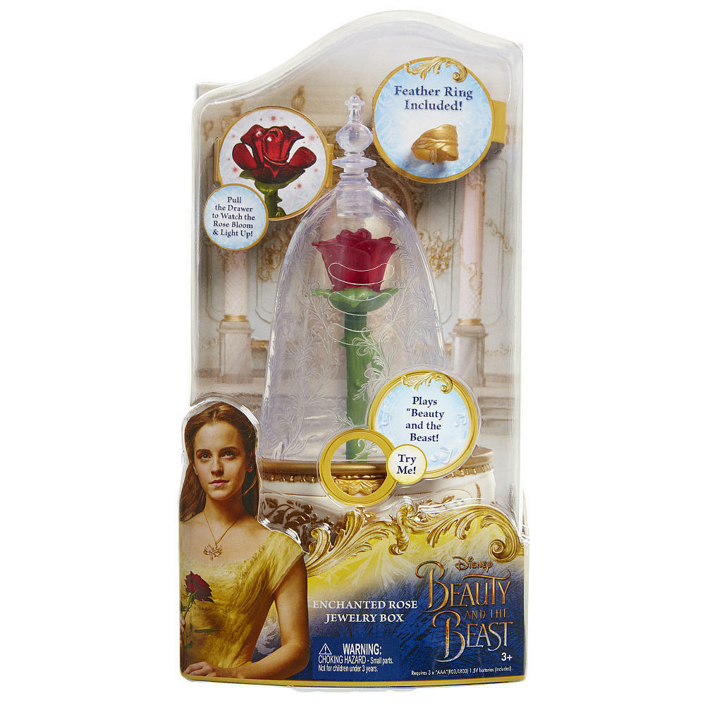 Beauty and the Beast Enchanted Rose Jewlery Box w Ring, Musi