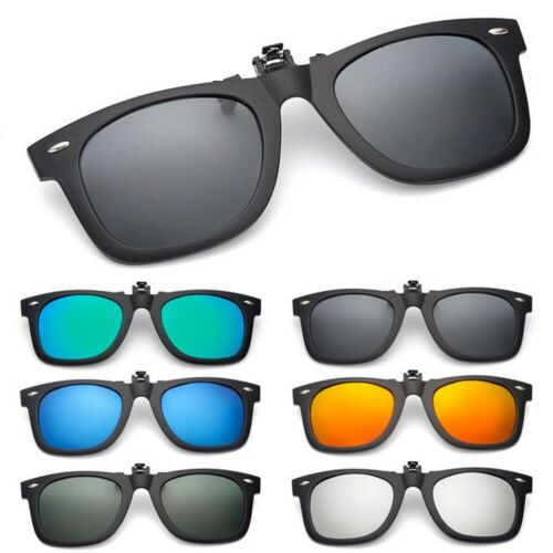 Polarized Flip Up Clip On Sunglasses Black 100% UV Protectio