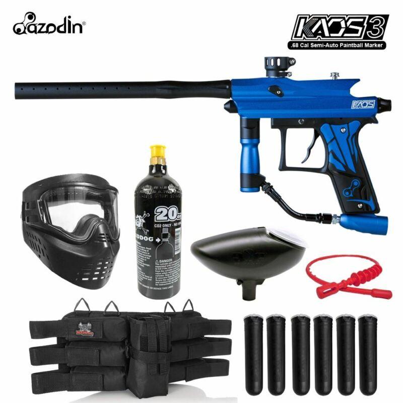Maddog Azodin Kaos 3 Titanium Paintball Gun Marker Starter Package Blue Black
