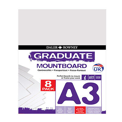 Daler Rowney : Graduate Mountboard A3 : Ice White : Pack of 8